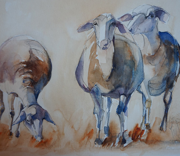 Le Trio 32×43 aquarelle